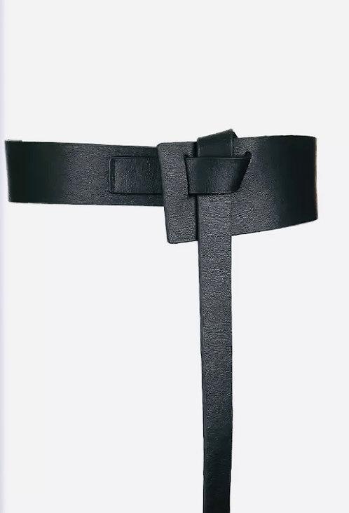 Corset Leather Knot belt Black