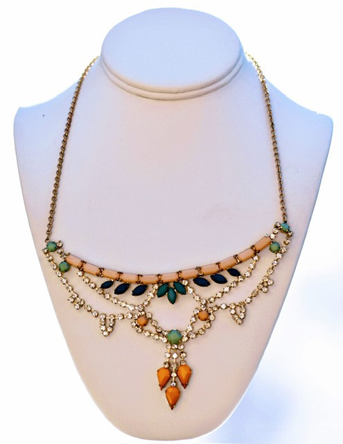 Green and yellow crystal necklace