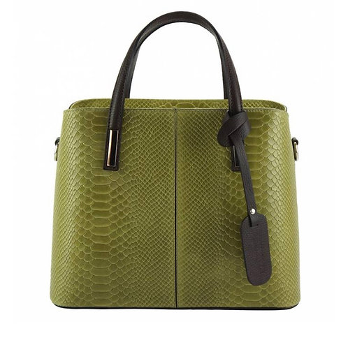 The Vanessa Leather Croco-Green/yellow