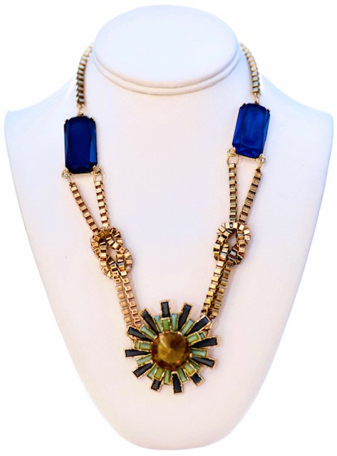 Crystal blue and green necklace