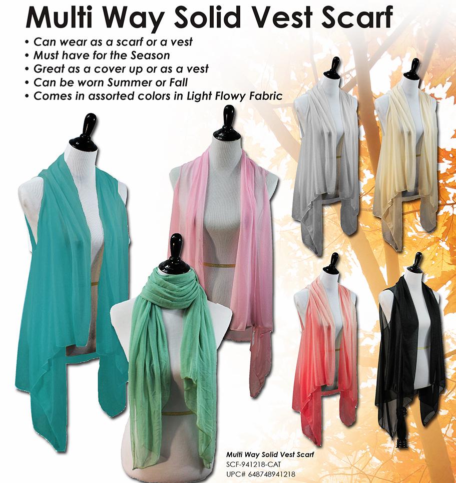 SCF-941218 - Multi Way Solid Vest Scarf