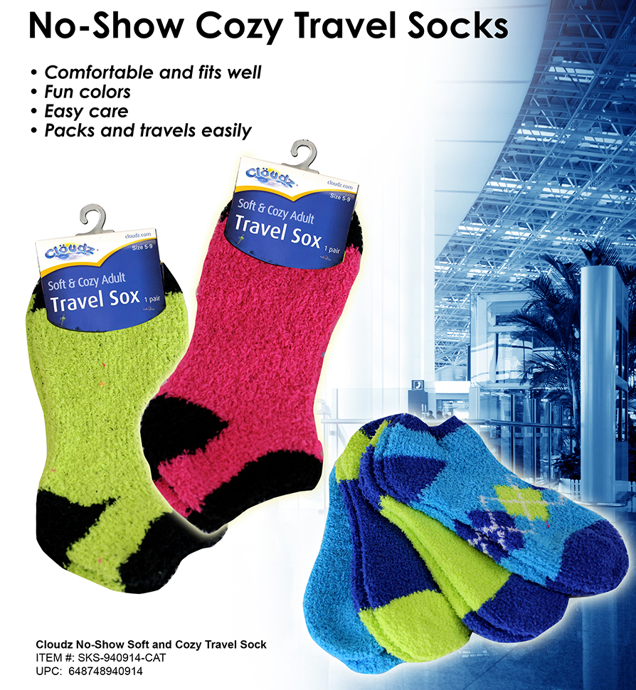 16 SKS-940914 - Cloudz No-Show Soft and Cozy Travel Socks