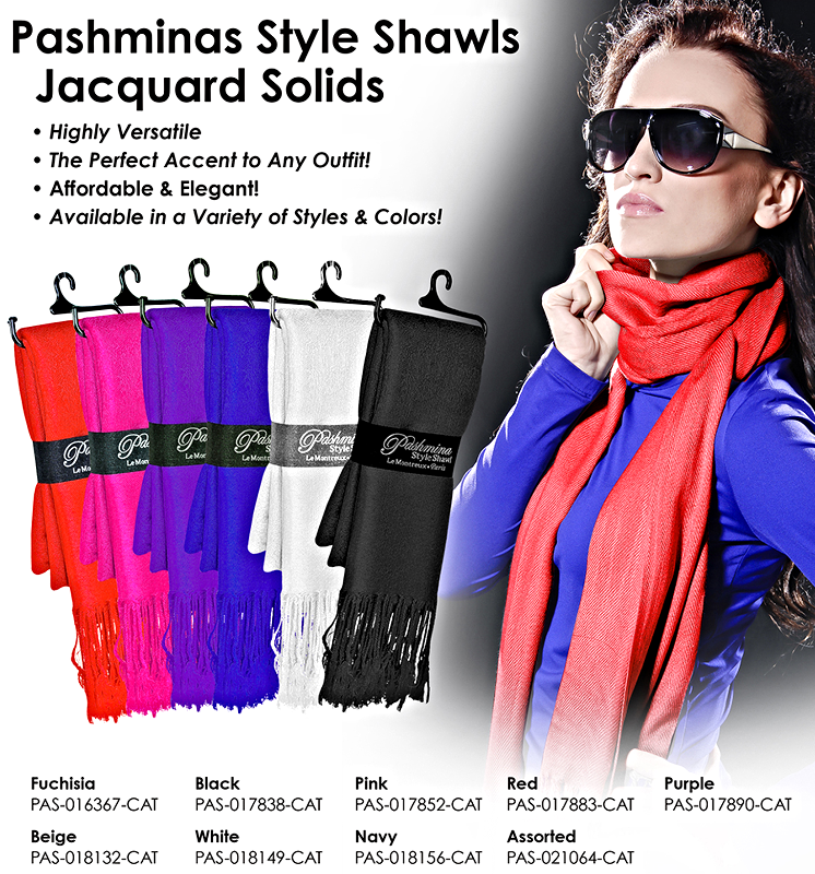 Pashminas - Jacquard Solid Colors