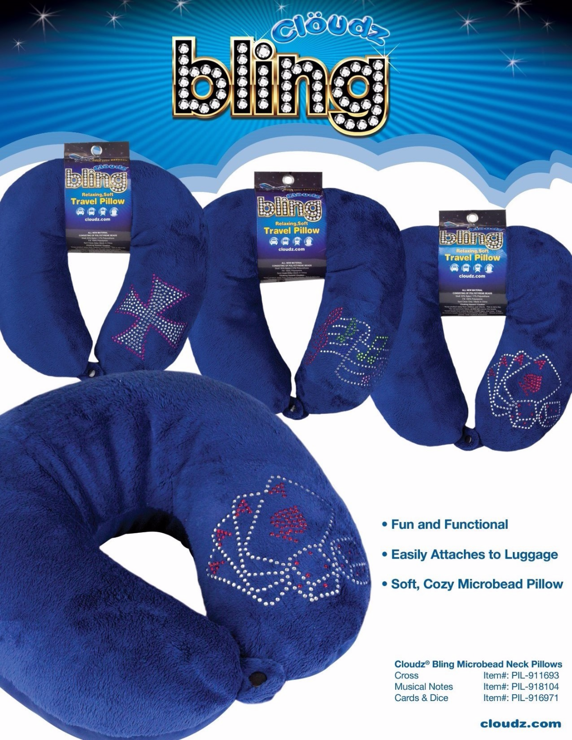 13 Cloudz Bling Microbead Neck Pillows