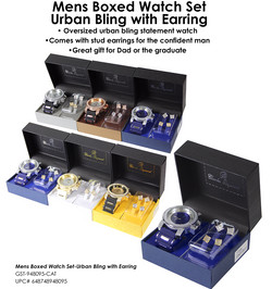 Mens Boxed Watch Set-Urban Bling with Earring