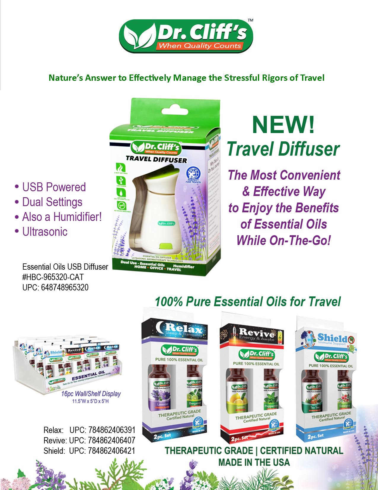 Travel Diffuser & Essential Oils