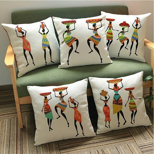 Traditional African Figure Cushion Covers