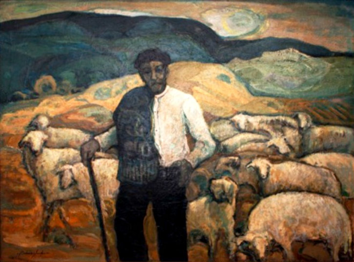 Ruizanglada - Pastor con ovejas 120x158cm óleo sobre lienzo NXXX220.