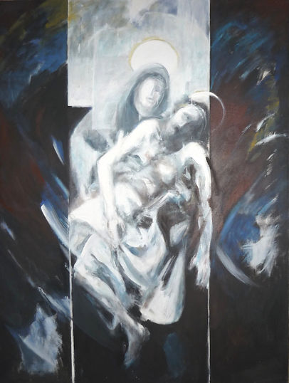 Ruizanglada - Piedad Negra 1990 Acrílico sobre lienzo