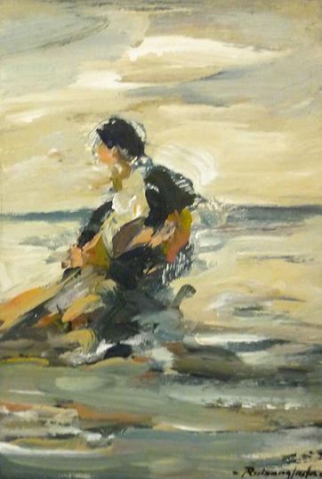 Ruizanglada - Pescador con sus redes en la playa 30x20