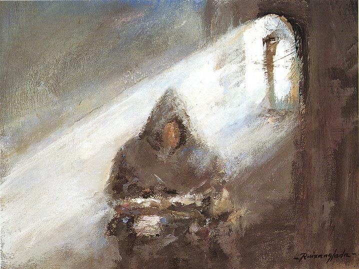 Ruizanglada - Monje en su celda 40x30 1999 Óleo sobre tabla