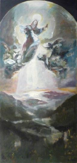 Ruizanglada - Asuncion - Virgen sobre el valle de Benasque 162x75 Acrílico sobre tabla.