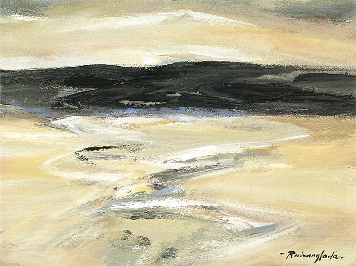 Ruizanglada - Tierras de Aragon Belchite 40x30 1999 óleo sobre tabla.