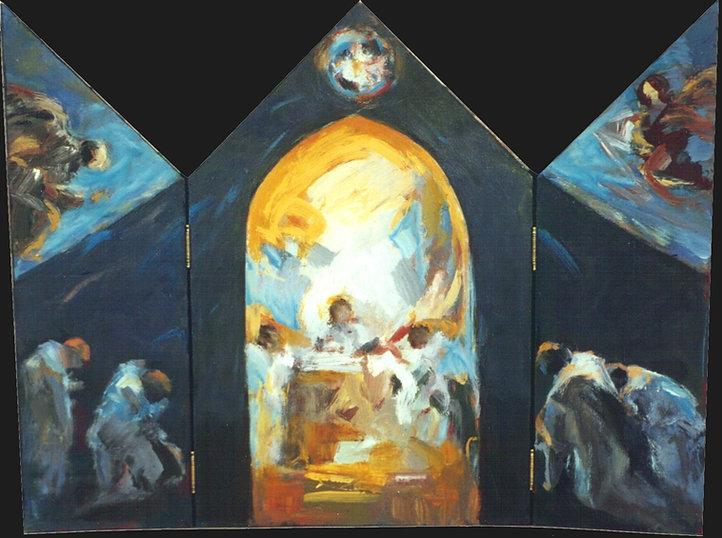 Ruizanglada - Monjes en la capilla 50x65 Acrílico sobre tabla 1996 Tríptico móvil