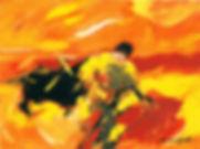 Ruizanglada - Tauromáquia Toreo de muleta 40x30 1999 Óleo sobre tabla.