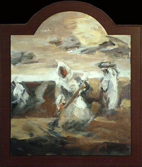 Ruizanglada - Trabajando la tierra 70x60 Acrílico sobre tabla 1996