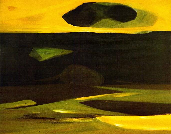 Ruizanglada - Volumen sobre paisaje 146x114 1980 Óleo sobre lienzo.