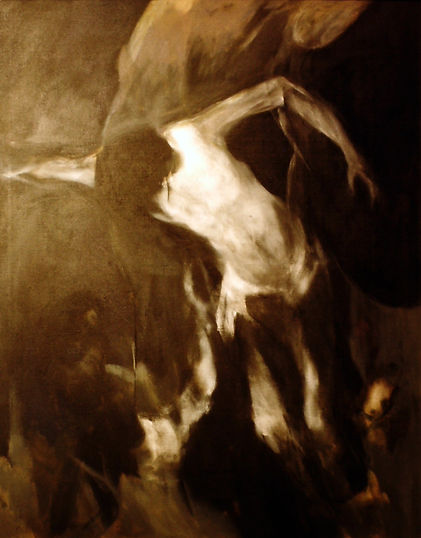 Ruizanglada - Descendimiento Serie negra 114x146 Acrílico sobre lienzo 1984