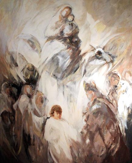 Ruizanglada - Jesús entre los maestros - Lucas 241-50. 196x160 Ácrílico sobre lienzo.