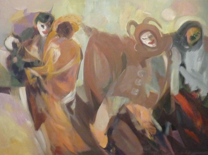 Ruizanglada - Baile de máscaras 130x162 1973 aproximadamente.