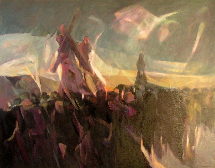 Ruizanglada - Procesión rural 130x195 1984 Acrílico sobre lienzo