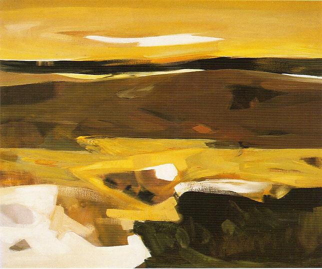 Ruizanglada - Atardecer amarillo 130x162 1976 Óleo sobre lienzo.