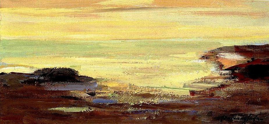 Ruizanglada - Marina entre las rocas 34x16 1999 Óleo sobre tabla