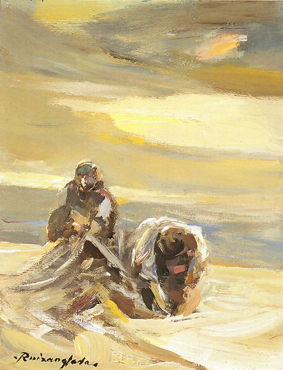 Ruizanglada - Pescadores Faenando 27x35 1999