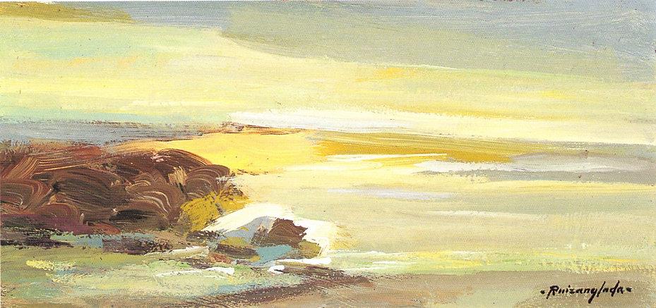 Ruizanglada - Marina En las rocas del mar en Torredembarra 34x16 1999 Óleo sobre lienzo.
