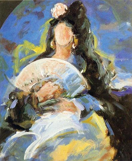 Ruizanglada - Manola en azul 61x50 Acrílico sobre lienzo.