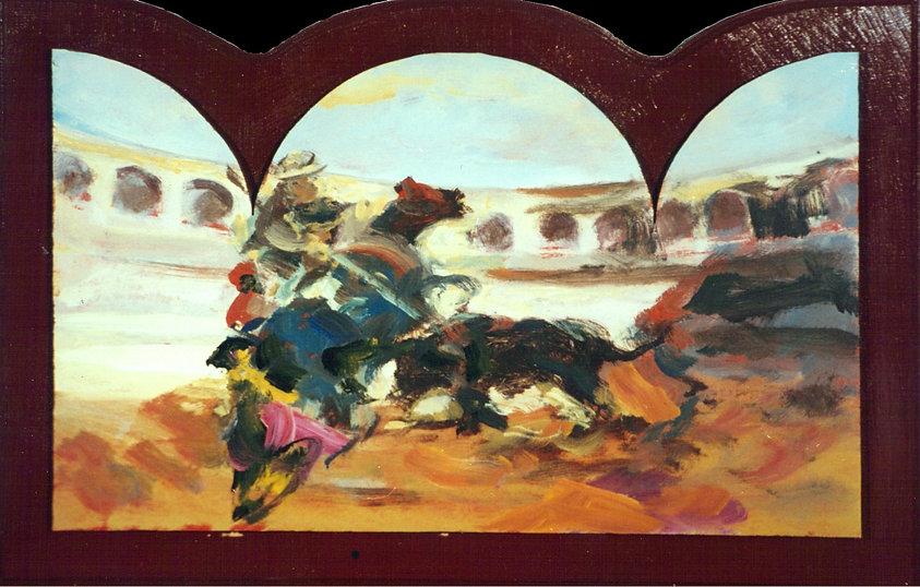Ruizanglada - Suerte de varas 50x75 1996 acrílico sobre tabla.