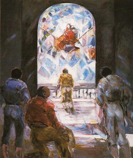 Ruizanglada - En capilla 180x150 1995 Acrílico sobre lienzo.