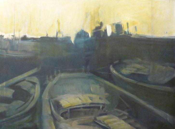 Ruizanglada - Barcas al atardecer 114x146 Óleo sobre lienzo 1977