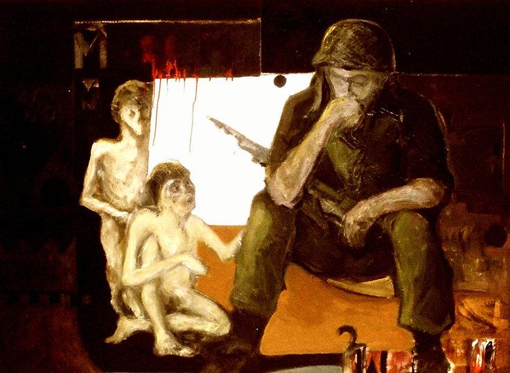 Ruizanglada - Soldado 122x153 Técnica mixta sobre lienzo 1970 - Origen diapositiva