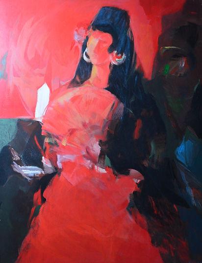Ruizanglada - Manola en Rojos 135x104 Óleo sobre tabla.