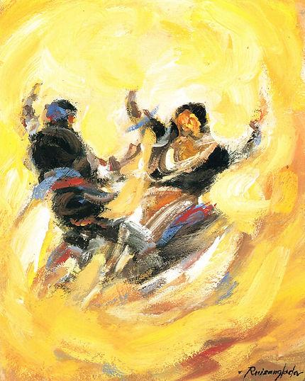 Ruizanglada - El movimiento de la Jota sobre amarillo 33x41 1999