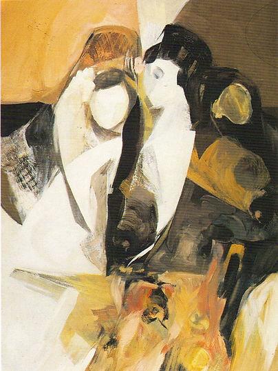 Ruizanglada - Las manolas del abanico 123x89 1983 Óleo sobre tabla.