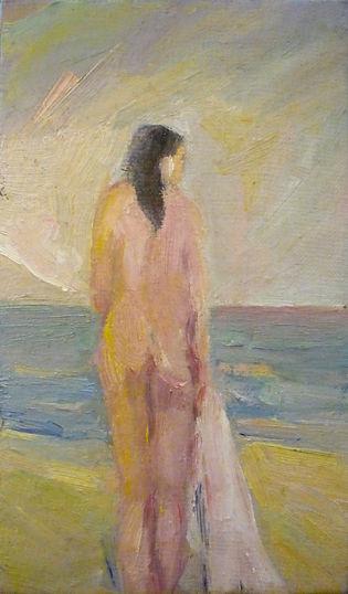 Ruizanglada - Desnudo en la playa 25x14 sobre tabla