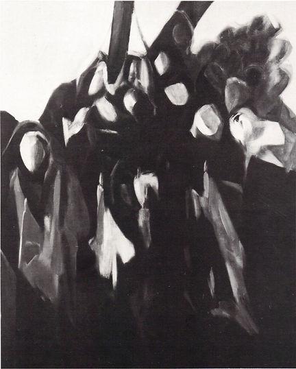 Ruizanglada - La procesion de los cirios Serie negra 130x162 Acrílico sobre lienzo 1984