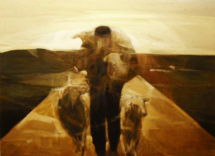 Ruizanglada - El pastor y sus ovejas 195x150 Óleo sobre lienzo.