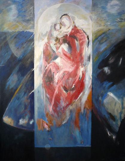 Ruizanglada - Virgen en rojo 195x150 1994 Acrílico sobre lienzo