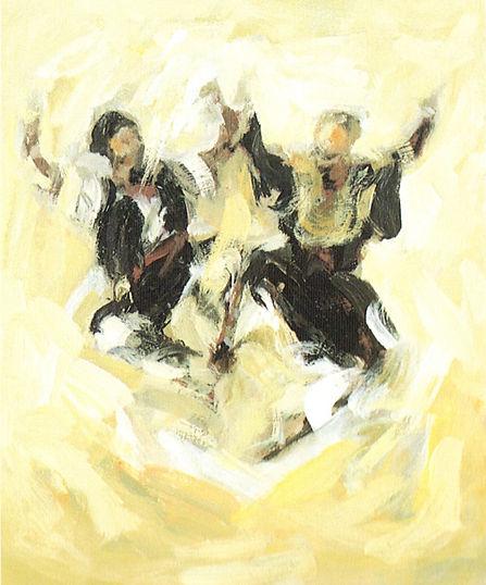 Ruizanglada - Jota en ocres 61x50 Acrílico sobre tabla