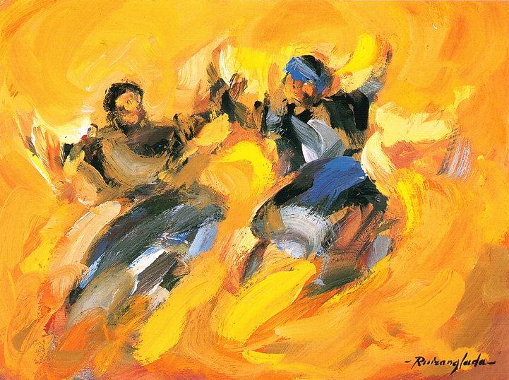 Ruizanglada - Aire de Jota 40x30 1999 Óleo sobre tabla