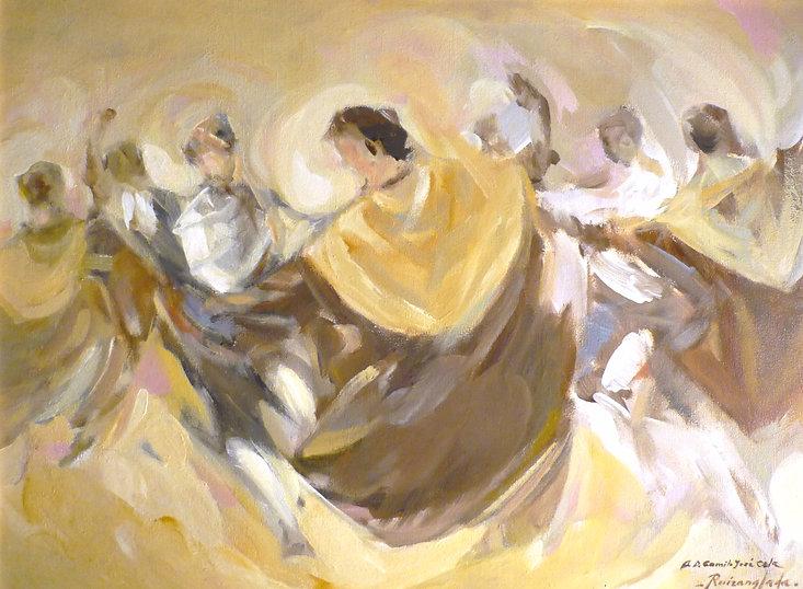 Ruizanglada - Joteros 61x46cm 1988 Óleo sobre lienzo - Dedicados a Don Camilo José Cela