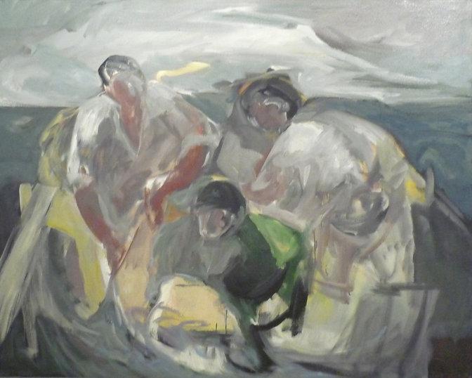 Ruizanglada - Pescadores en la barca 130x163