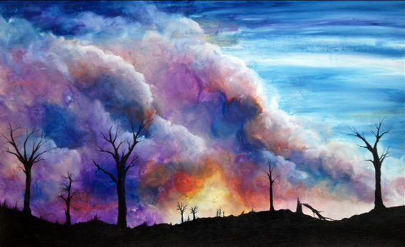 Forest Fire Acryllic Painting