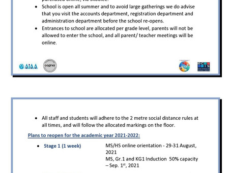 School Re-opening                        Plans & Guidelines 2021-2022