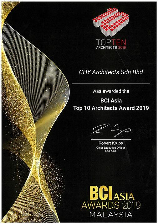 2019 - BCI ASIA TOP TEN ARCHITECTS AWARD