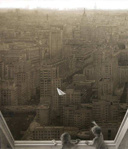 Paper Plane Over City