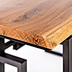 Loft style table_ oak cover, metal base